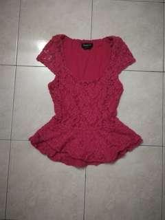 Bebe lace pink top