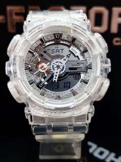 HURRY!! LAST 9 SETS in GSHOCK CASIO 200M DIVER WATCH  : 100% ORIGINAL AUTHENTIC G-SHOCK in CRYSTAL CLEAR ICEAGE ABSOLUTELY TOUGHNESS BEST GIFT For Most Rough Users & Unisex : GA-110CR-7A / GA110CR / GA-110 / GA110