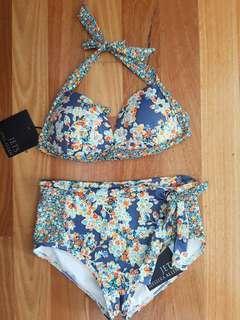 JETS Jessika Allen Blue Floral Bikini size 8