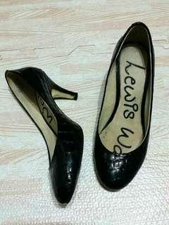 西班牙專櫃 Lewis Walt 鱷魚格紋亮面跟鞋 黑 36又2/1