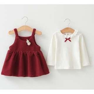 🚚 2pcs Lace Riboon Red Dress (NCD 010)