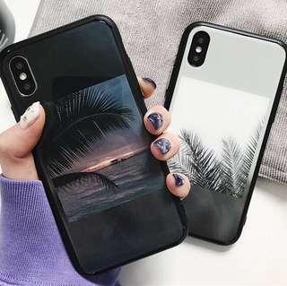 (Hard+Soft Sides) Beach Scenery Glass iPhone Case