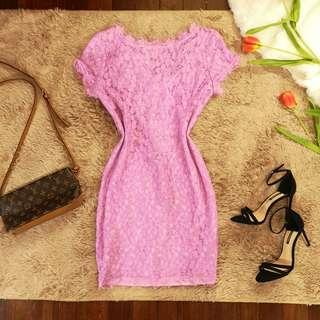 Lilac Lace scallop shift dress