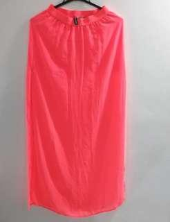 Neon Pink Long Skirt with Slit