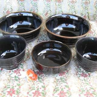 Assorted Black Bowls
