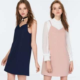 🚚 ❣️ TCL Kara Reversible Slip Dress in Navy / Nude Pink, XS