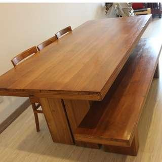 Teak wood dining table with three dining chairs and bench