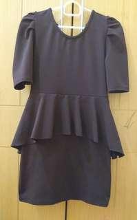 Preloved dress dewasa coklat gelap press body