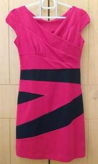 Preloved dress dewasa merah menyala garis hitam
