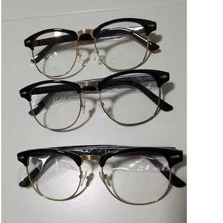 Black Brown Eyewear Spectacle Frame with Gold Silver Rims