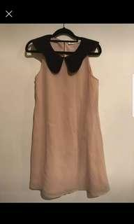 Nude dress with interesting collar