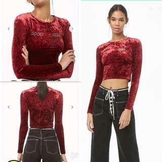 🔥f21 Red Velvet cropped long sleeves