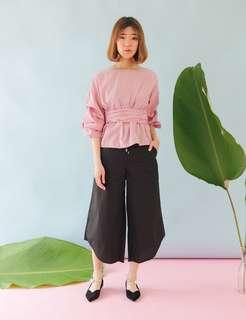 Striped Blouse w/ Pleated Sleeve