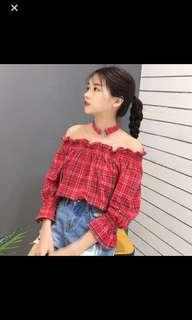 Red Checkered Off Shoulder Top