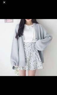 Sky Blue Knitted Cardigan