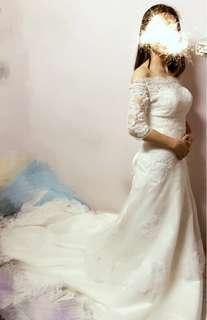 White Wedding gown 白色 拖尾婚紗