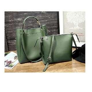 🚚 韓版皮革子母包手提包單肩包《竹青綠》