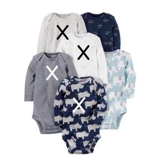 BN 2x 9M Carter's Long Sleeve Rompers