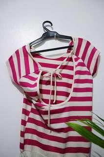 Pink/white stripes dress