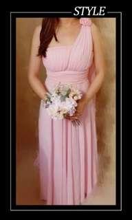 雪紡姊妹裙,粉紅,99%新(連胸墊)