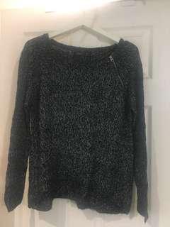 Dark Grey Knit Sweater with Zipper Detail