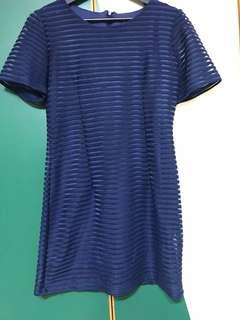 Navy blue striped dress