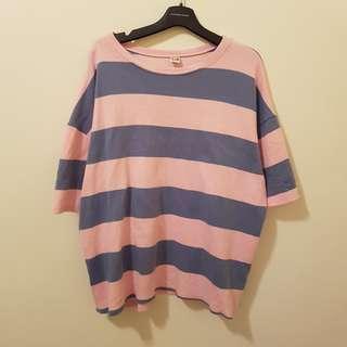 🚚 粉藍拼接寬條紋橫條厚短袖T-shirt