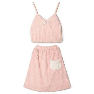 秋冬軟妹粉嫩色系毛絨兩件式套裝