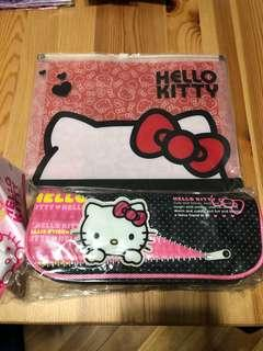 Hello Kitty 筆袋+膠文件袋