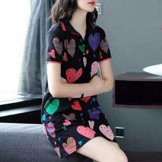 Printed Heart Collar Dress