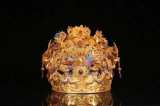 清、 銀鎏金花絲鳳冠