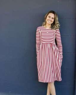 Pocket Stripe Patch Long Sleeve Dress