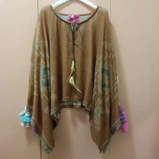 🚚 森林系民族風古著羽毛綁帶斗篷式寬鬆上衣
