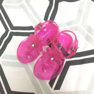 Carter's pink jelly flipflops
