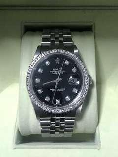 Rolex Datejust 16234 Black face with diamond bezel