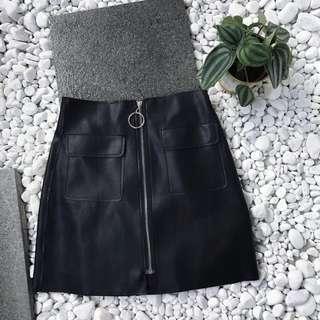 Black Zipped Leather Skirt