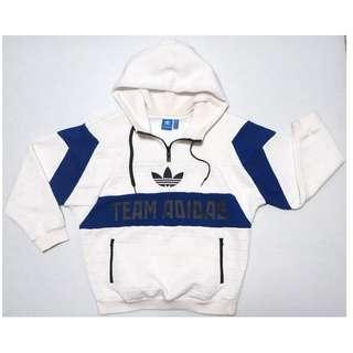 【跨年前賣場任2件減200】愛迪達 ADIDAS 白藍配色 長袖連帽T恤 38號 約M號 (8成5新)