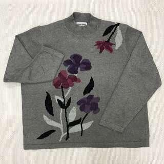 Grey Floral Knitted Sweatshirt