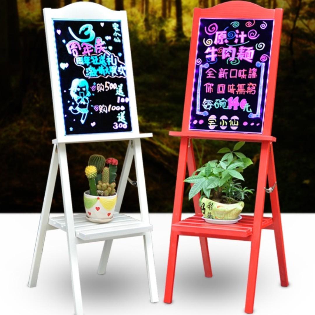 【全新*2色選擇】餐廳餐牌商店舖展示實木支架式電子熒光板發光玻璃寫字屏熒光黑板led手寫板廣告板 Shop Restaurant Display Exhibition Advertising Easel Board