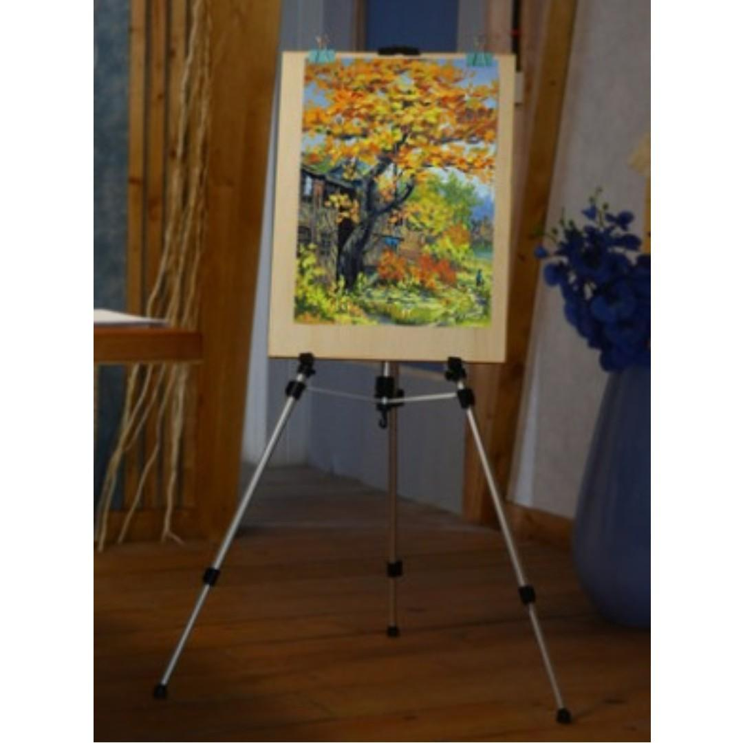 【全新*多色選擇*連背袋】鋁合金屬780g輕巧便攜油畫畫架畫板可升降折疊塑膠彩素描寫生水彩水粉油畫架展覽示架繪畫美術用品 Oil Painting Easel Exhibition Display