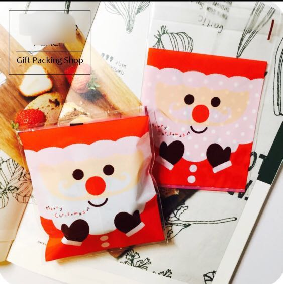 2df482df95 🎅 Santa Claus Cookie Bag Adhesive Christmas Gift Goodie Packaging ...
