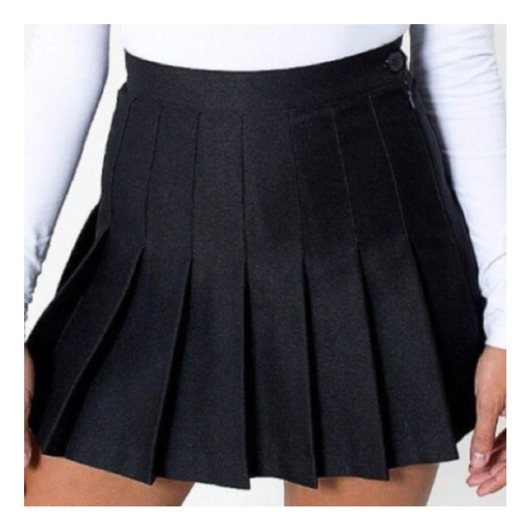 0157c95bf3 American Apparel Inspired Pleated Tennis Skirt in Black, Women's ...