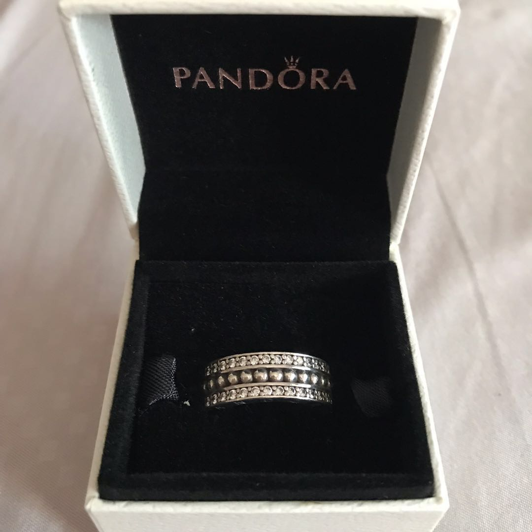 c96e82021 Authentic Pandora Logo Silver Ring with Cubic Zirconia, Women's ...