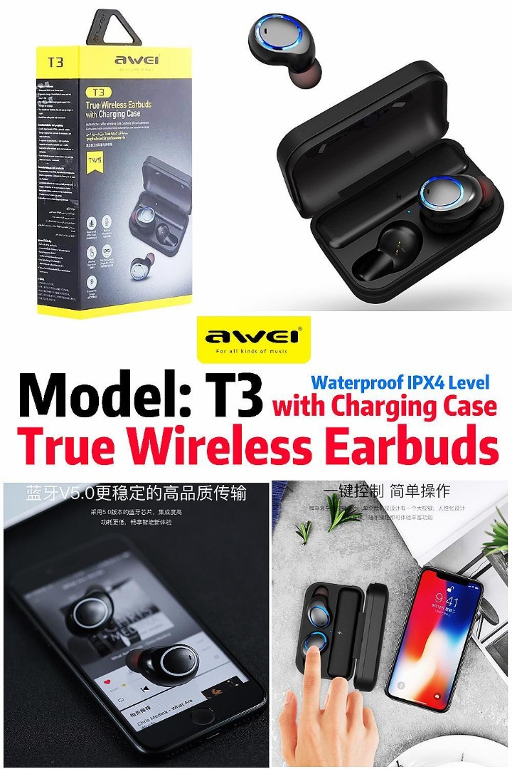 8123f124444 AWEI (Model: T3) True Wireless Earbuds with Charging Case, Mobile ...