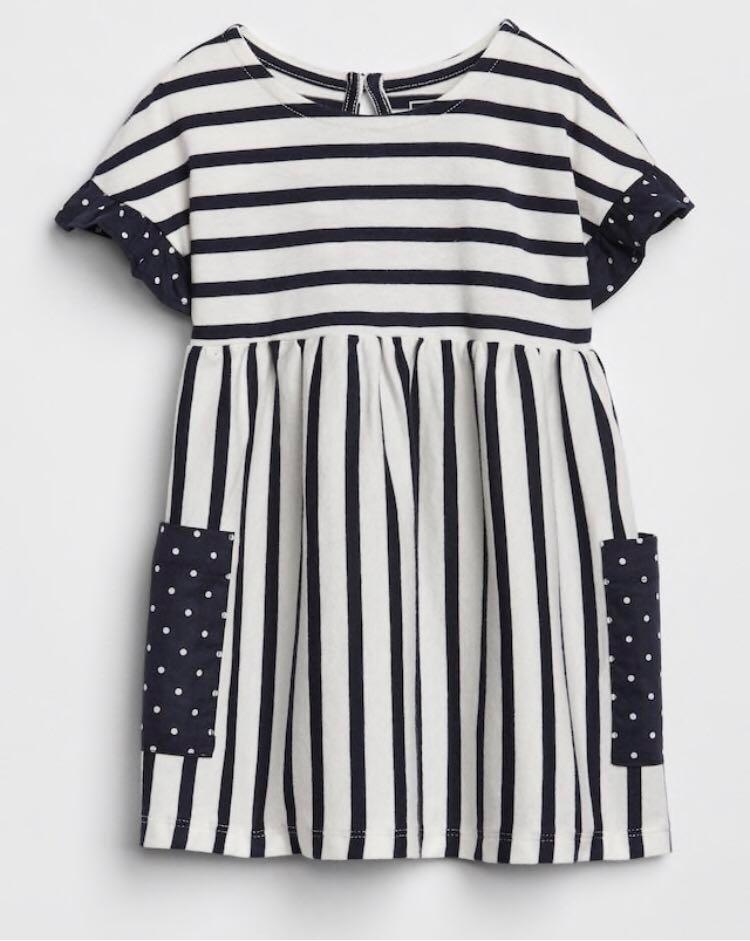 24793960832d BN GAP Baby Girl Striped Polkadot Pocket Dress 12-18m   18-24m avail ...