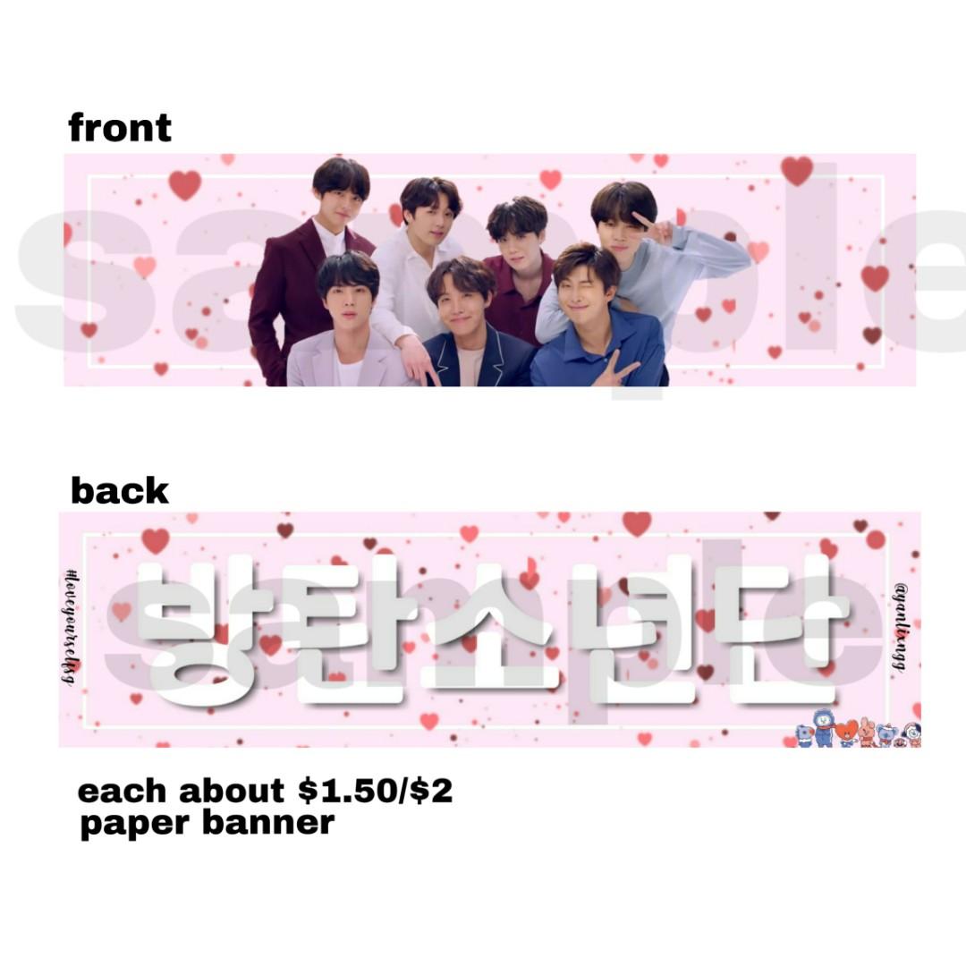 KPOP BTS Support Banner Fake Love Bangtan Boys V Laser