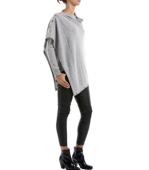 Cable Cashmere Wool Button Poncho - Grey Marle - one size