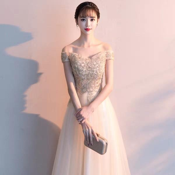 Champagne Sequin Offshoulder Gown Long Evening Dress Dinner Dress Maxi Dress Prom Dress Wedding Dress Bridal Dress Bridesmaid Dress Rent Women S Fashion Clothes Dresses Skirts On Carousell,Wedding Dress Shops In Miami