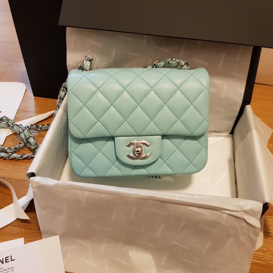 006f9c241eb1 Chanel 2019 cruise mini flap square light tiffany blue, Luxury, Bags &  Wallets, Handbags on Carousell