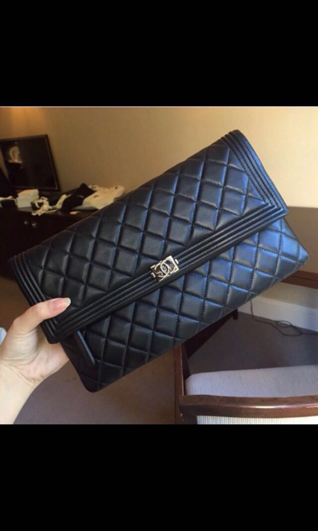 f1f4db531e20 ... Chanel Boy fold over clutch Luxury Bags & Wallets Clutches on Carousell